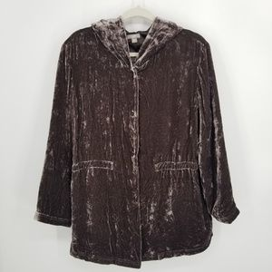 J Jill Crushed Velvet Hooded Jacket LP